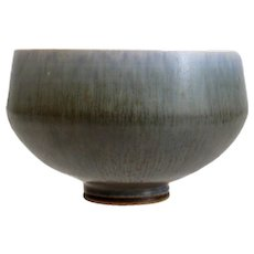 Berndt Friberg Stoneware Bowl with Hare's Fur Glaze in Blue to Olive Green/Brown