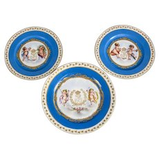 Sevres Style Chateau Des Tuileries Louis Philippe Cherubs Hand Painted Cabinet Plates