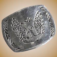 Sterling Silver Hopi Owl Kachina Belt Buckle, marked W.K. and Sterling, c1950