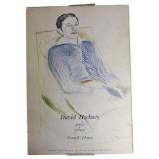 David Hockney 1937- Jacques de Bascher de Beaumarchais Poster Signed in Pencil
