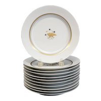 11pc Royal Copenhagen Luncheon Plates Golden Animals Art Deco c1938 RARE 734