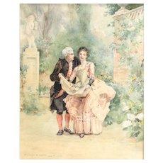 Ethelwyn B. Upton American 19th-20th Century after M. Leloir Watercolor Painting