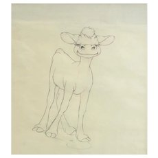 "Disney ""Ferdinand the Bull"" Animation Pencil Drawing, 1938. With Original Label"