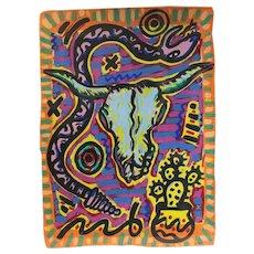 James Patrick Sasso (American 20-21st Century) Acrylic on Paper Longhorn