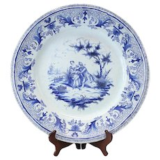 18th Century Delft Faience Earthenware Charger, Vignette of Pastoral Couple AK