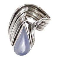 Mid Century Sterling Silver Blue Chalcedony Modernist Ring size 6.75, Teardrop