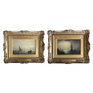William Adolphus Knell 1805-1875 Two Oil Paintings on Canvas Nautical Seascape