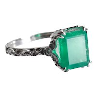 Exquisite 14k White Gold, Emerald and Diamond Ring, sz 6.25-6.5, Filigree Mount