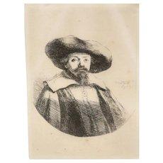 Van Rijn Rembrandt Harmensz (Dutch 1606-1669) Etching of Menasseh Ben Israel