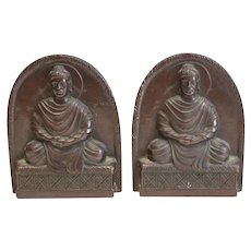 Tiffany Studios NY Bronze Patinated Buddha Bookends # 1025