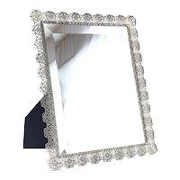 Italian Sterling Silver Filigree Tabletop Vanity Beveled glass Mirror