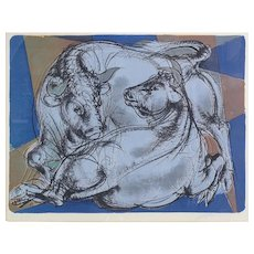 "Erni Hans (Swiss 1909-1915) Lithograph Abstract ""Stier und Kuh"", c1962. Ltd Ed"