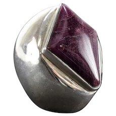 HUGE Purple Sugilite Sterling Silver Modernist Statement Ring sz 7.5