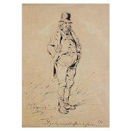 Charles Joseph Travies (Swiss 1804 – 1859) Original Pen & Ink Drawing of a Man