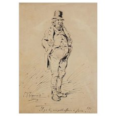 Charles Joseph Travies (Swiss 1804 – 1859) Original Pen & Ink Drawing of a Man