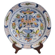 Antique Continental Faience Polychrome Charger 19th Century
