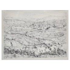Anna Ticho (Israeli 1894 - 1980) Lithograph Landscape Hillsides of Jerusalem