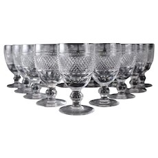 13pc Waterford Crystal Cashel Pattern Wine Glasses Cross Hatch