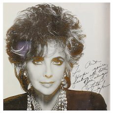 Elizabeth Taylor Autographed Photograph in Gilt & Black Wood Frame