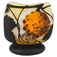 Daum Nancy Cameo Art Glass Vase, c1920 Acid Etched Gourds Leaves Tendrils
