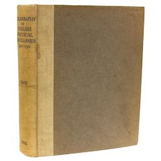 Arthur E. Case 'A Bibliography of English Poetical Miscellanies'. 1935 1st Ed