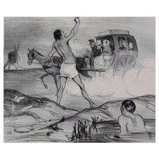 Honore Daumier France 1808 -1879 Lithograph Les Baigneurs No. 398