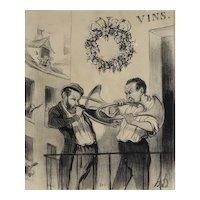 Honore Daumier France 1808 -1879 Lithograph Les Musiciens de Paris 1841