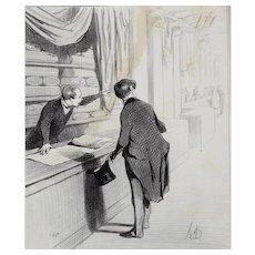 Honore Daumier France 1808 -1879 Lithograph Les Etrangers a Paris 1844
