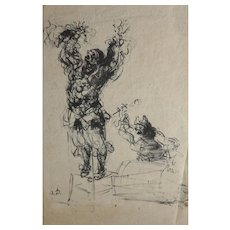 Honore Daumier France 1808-1879 Lithograph, Paillasse, a Clown and Drummer