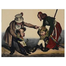 Honore Daumier France 1808-1879 Hand Colored Lithograph Kssssse! Pedro...