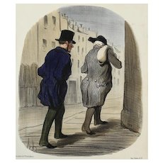 Honore Daumier France 1808-1879 Hand Colored Lithograph Tout ce qu'on Voudra