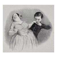 Honore Daumier France 1808 -1879 Lithograph Un Debut galant No 16