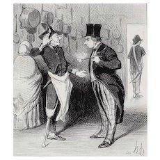 Honore Daumier France 1808-1879 Lithograph La Visite a L'Hotel No 10