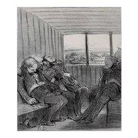 Honore Daumier France 1808 -1879 Lithograph Le voyage Le Charivari 1848