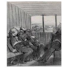 Honore Daumier France 1808 -1879 Lithograph Le voyage... Le Charivari 1848