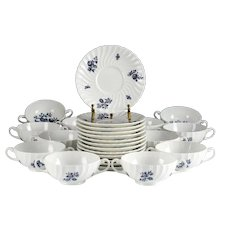 Service for 13 Royal Worcester Blue Spray Cream Soup Bowl & Saucers