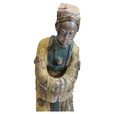 19th c Chinese Polychrome Stucco Roof Figure bowing character in yellow