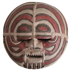 African Polychrome Bateke Bakuta? Mask, Gabon. Round mask with heavy eyelids
