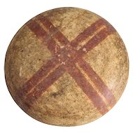 Pre Columbian Pottery Shallow Bowl, polished buff with crossed red stripes