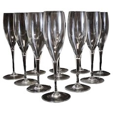 11pc Baccarat Crystal St. Remy Fluted Champagne Glasses, plain bowl