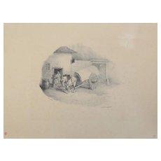 Jean Louis Theodore Gericault (French 1791-1824) Cheval De Charrette Sorti