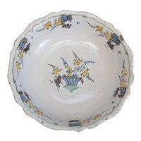 18th century Continental Faience Earthenware Serving Bowl with fluted sides