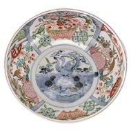 Japanese Imari porcelain bowl hand painted panels in rust, enamel green