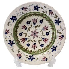 German Faience c1800 Rimmed Bowl, floral designs in plum deep blue olive green