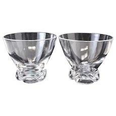 Pair of Steuben Art Glass Deep Footed Flower Bowls / Centerpiece Vase