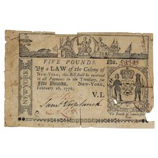 New York £5 FIVE Pounds Note February 16 1771 Colonial Currency