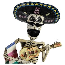 Vtg Antonio Joel Garcia Dia De Los Muertos Day of the Dead Skeleton Guitarist