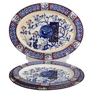 """3 sizes Minton Aesthetic Faisan Oval Serving Platters 9.5"""" 10.75"""" 12.5"""" red blue"""