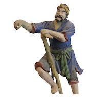 19th c Chinese Polychrome Stucco Roof Figure Peasant with Stick stilts crutch