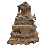 Seated Gilt Bronze Buddhist figure, hands in bhumisparsi mudra, Rattanakosin